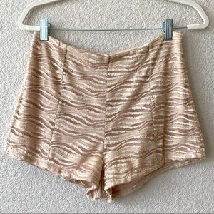 Pins & Needles Gold Cream Lace Shorts